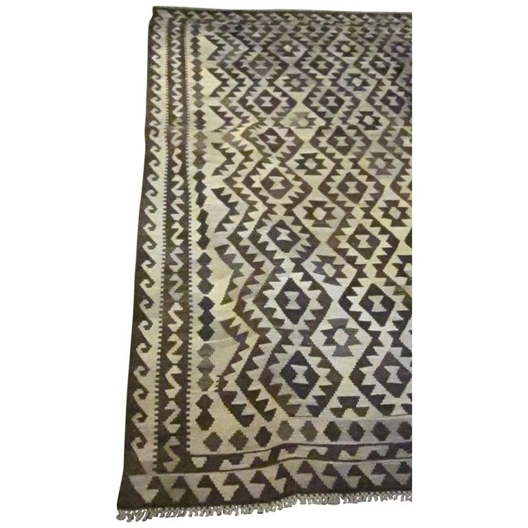 Vegetable Dyed Dark Brown and Cream Kilim For Sale