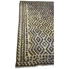 Vegetable Dyed Dark Brown and Cream Kilim