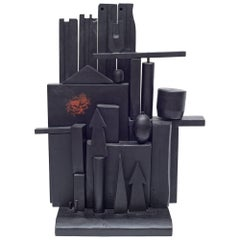 "Louise Nevelson ""Little Mansion"" Polychromed & Ebonized Wood Sculpture, USA 1955"