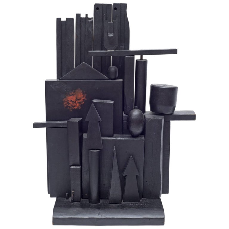 "Louise Nevelson ""Little Mansion"" Polychromed & Ebonized Wood Sculpture, USA 1955 For Sale"