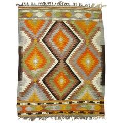 Vintage Turkish Kilim Flat-Weave