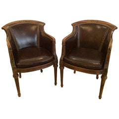 Handsome Pair of Regency Style Walnut and Tortoise Leather Club Lounge Chairs