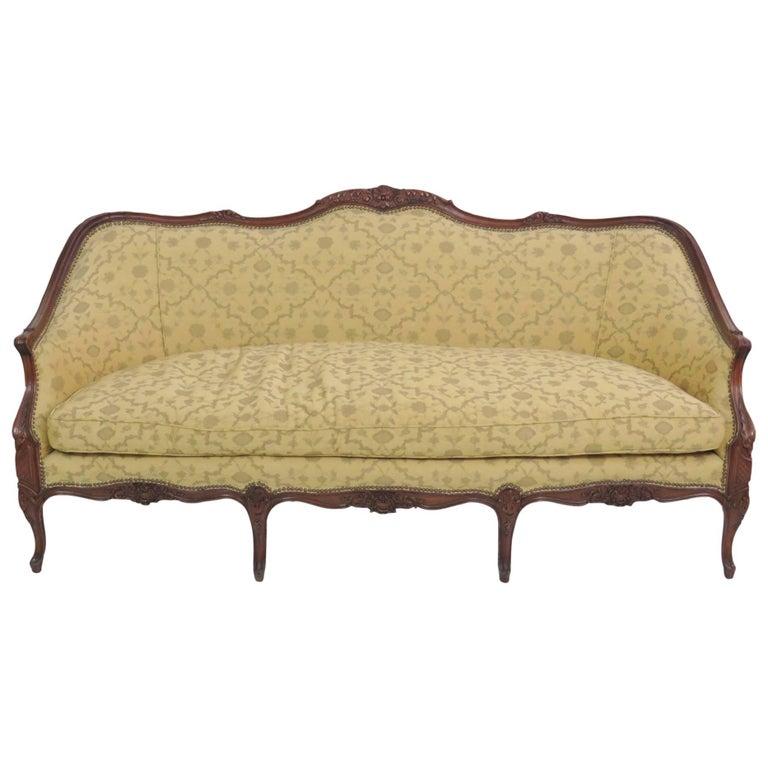 Louis XV Style Carved Walnut Sofa