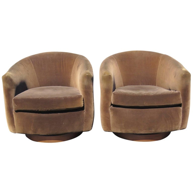 Pair Of Milo Baughman Style Upholstered Swivel Club Chairs