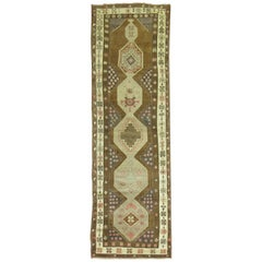 Chocolate Brown Vintage Turkish Oushak Runner