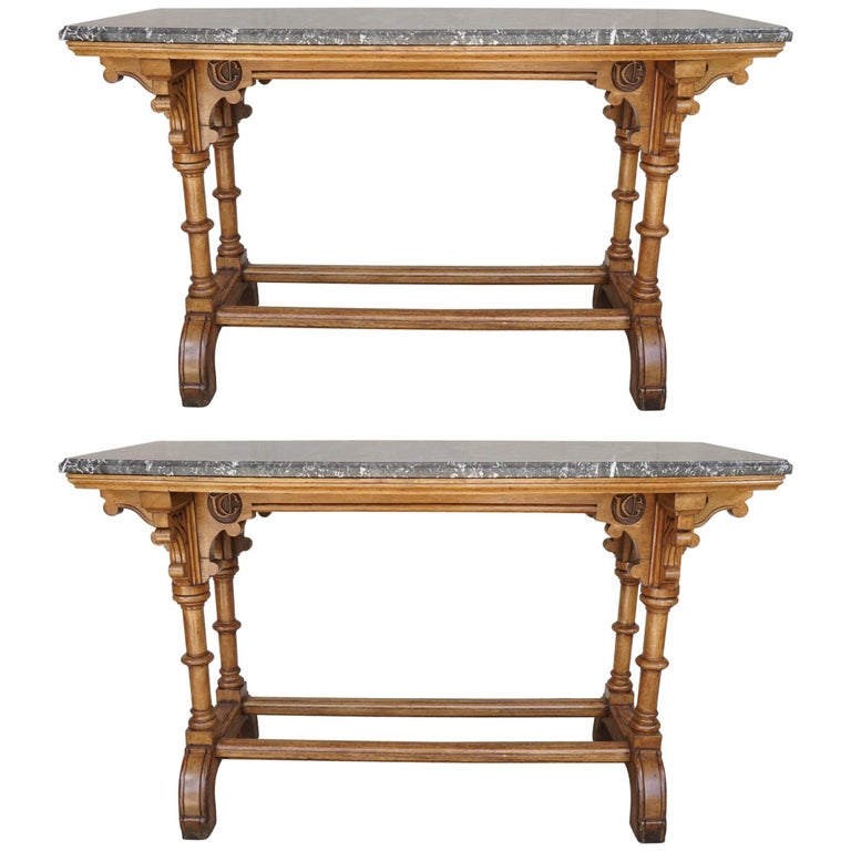 Pair of 19th Century English Reform Gothic Oak Marble Topped Console Tables