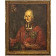18th Century Oil Portrait Continental School Framed Oil on Canvas