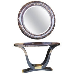 Enrique Garcel Tassellated Horn French Art Deco Style Console and Mirror
