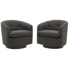 Pair of Milo Baughman Tilt Swivel Club Chairs, Charcoal Gray Maharam Fabric