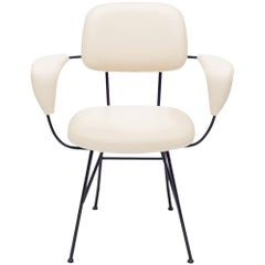 Mid-Century White Leather and Iron Armchair, Italy, 1950s