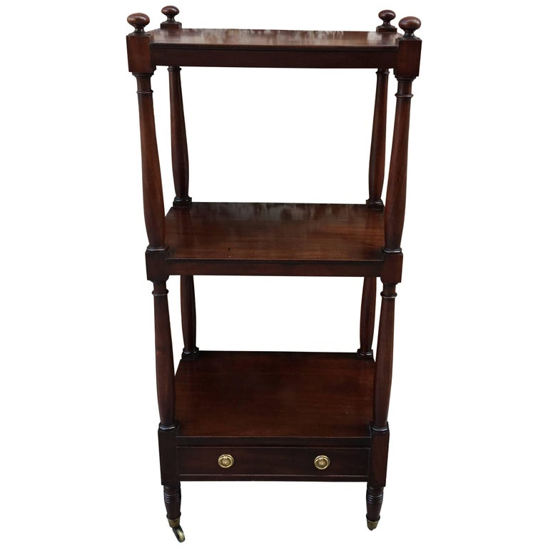 Mahogany Three-Tier Stand with Drawer Early 19th Century