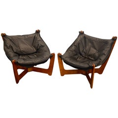"Odd Knutsen ""Luna"" Sling Chairs in New Black Leather and Suede"
