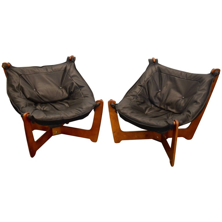 """Odd Knutsen """"Luna"""" Sling Chairs in New Black Leather and Suede"""