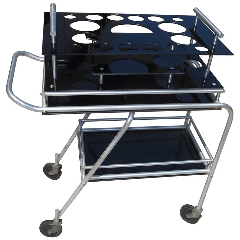 Deco DC3 Aero Art Cocktail Trolley Cart with Rare Serving Tray 1