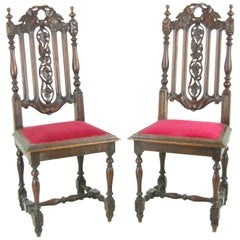 Two Antique Hall Chairs Victorian Hall Chairs Scotland, 1880  REDUCED!!!