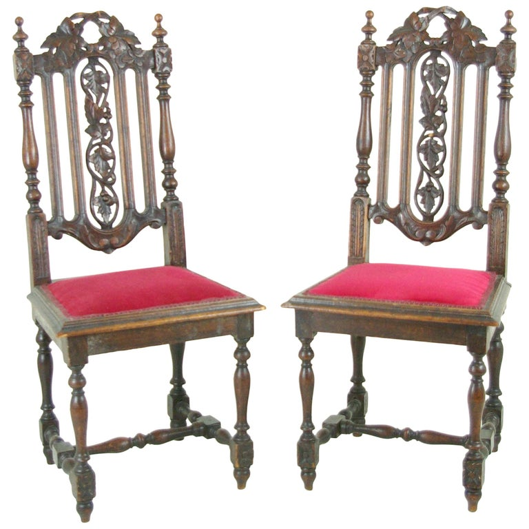Two Antique Hall Chairs Victorian Hall Chairs Scotland, 1880 REDUCED!!! For  Sale - Two Antique Hall Chairs Victorian Hall Chairs Scotland, 1880 REDUCED