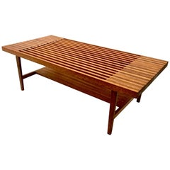 One Mid-Century Modern Solid Mahogany Coffee Table with Shelf