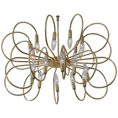 Polished Brass Twelve-Arm Chandelier