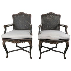 Pair of French Painted and Cane Armchairs, circa 1930