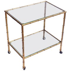 French Drinks Cart or Trolley of Brass and Glass with Bamboo Design