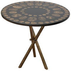 Fornasetti Black and Gold Italian Coin Table