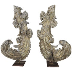 Pair of 19th Century Italian Carvings on Iron Bases