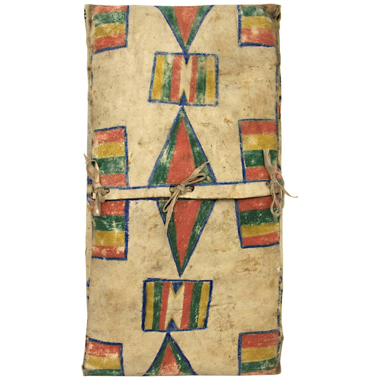 Native American Parfleche Envelope with Abstract Painting, 19th Century, Plateau For Sale