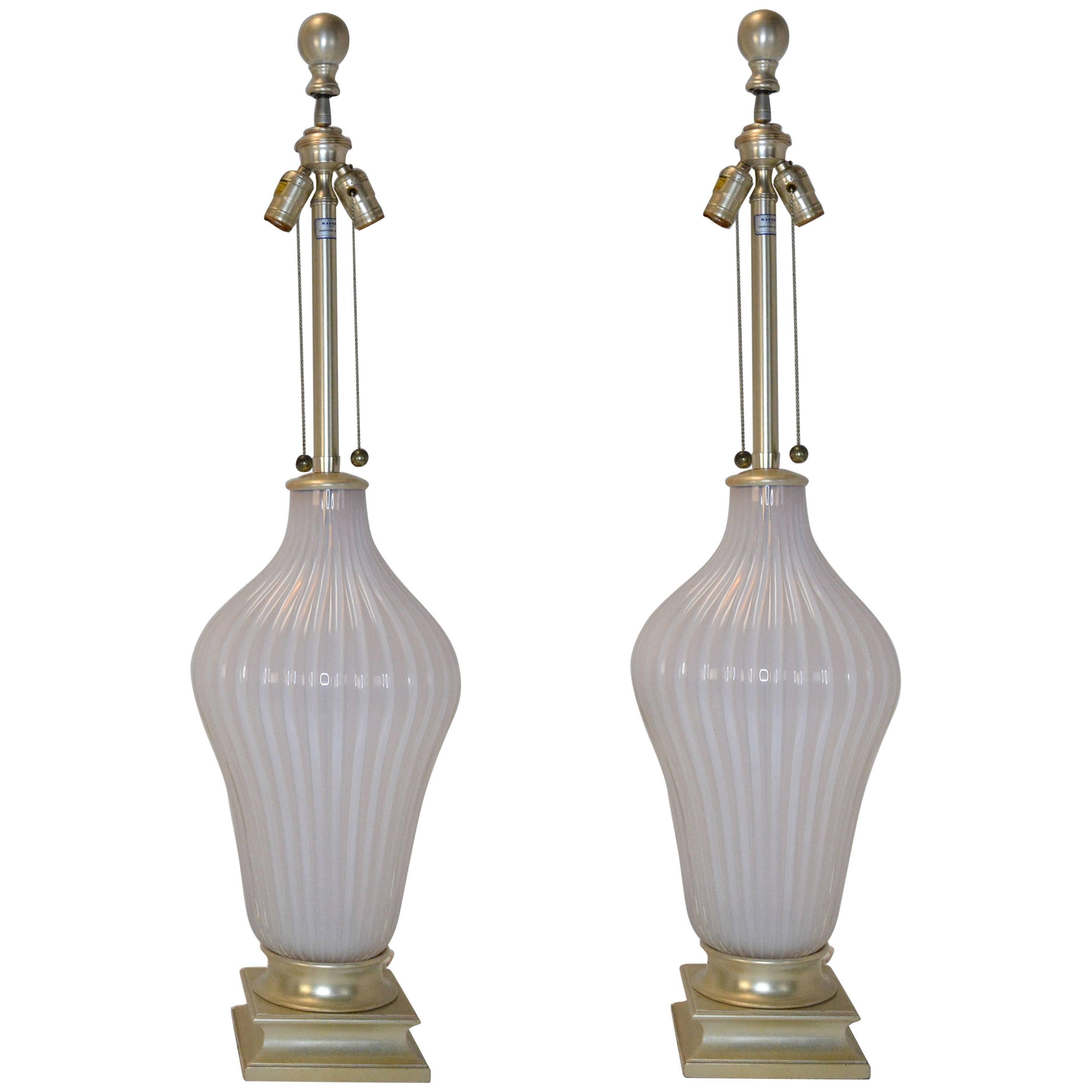 Pair of Blush Pink Murano Glass Marbro Lamps, 1960s