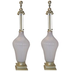 Pair of Blush Pink Murano Glass Marbro Lamps, 1960s