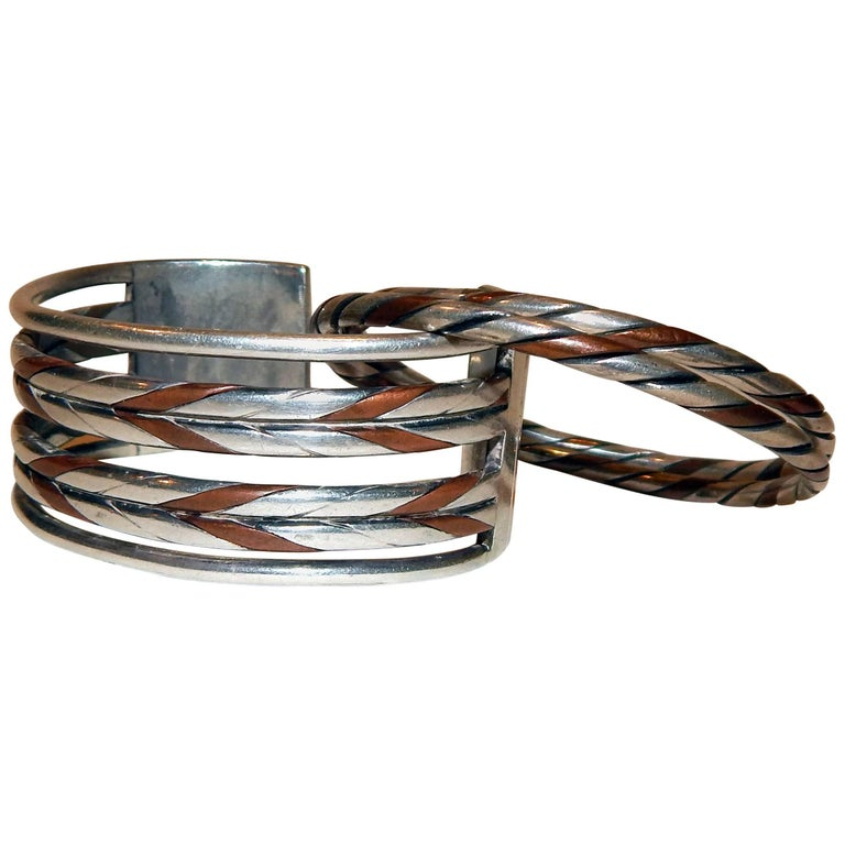 William Spratling Taxco Mexican Silver and Copper Cuff Bracelet Set-Modernist