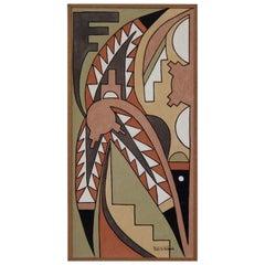 Pablita Velarde Pigment Painting with Native American Deco Motif, 1940s-1950s
