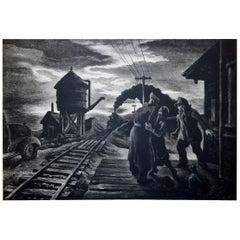 "Lithograph ""Morning Train"" by American Regionalist Thomas Hart Benton"