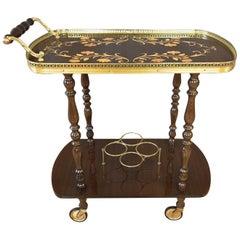 Vintage Italian Mahogany Marquetry Serving Cart