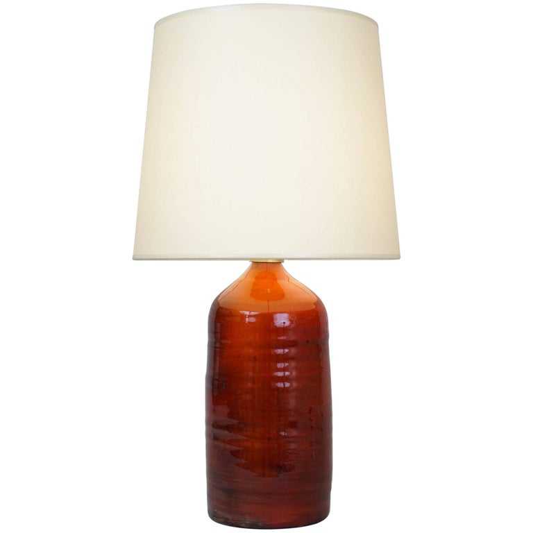 Late 20th Century Orange Ceramic Table Lamp For Sale At 1stdibs