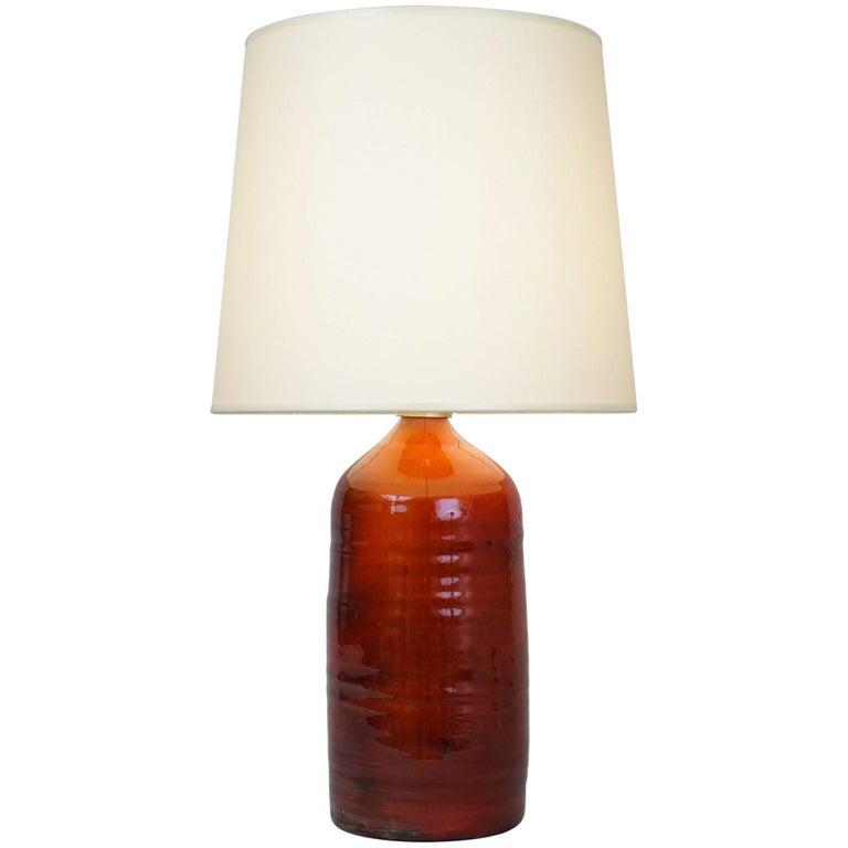 Late 20th Century Orange Ceramic Table Lamp For