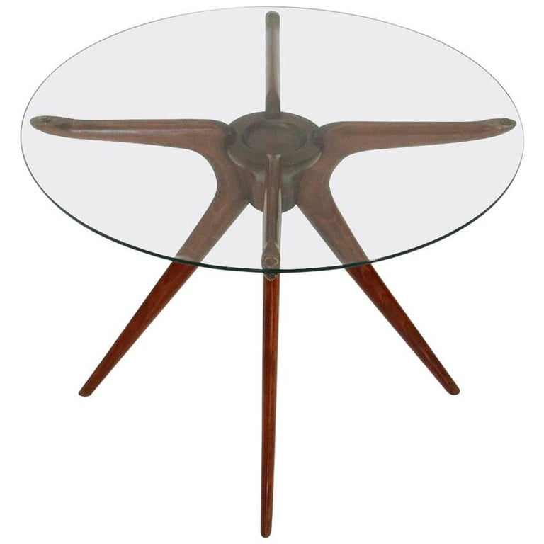 Italian wood and glass coffee table at 1stdibs for Wood and glass cocktail tables