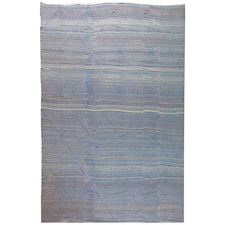 Oversized-Blue Deux Diamond-Moroccan Flat-Weave Rug For