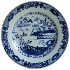 18th Century Chinese Blue and White Porcelain Plate, Lakeside Scene, circa 1780