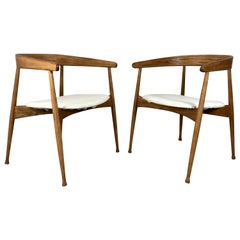 Matched Pair of American Danish Armchairs Manner of Hans Wegner