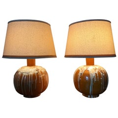 Large Mid-Century Modern Drip Glaze Italian Table Lamps