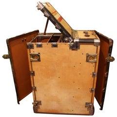 1930s Hartmann Beige Leather Turntable Wardrobefitted Steamer Trunk
