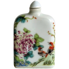 Chinese Porcelain Snuff Bottle Hand-Painted Birds and Flowers, Circa 1940s