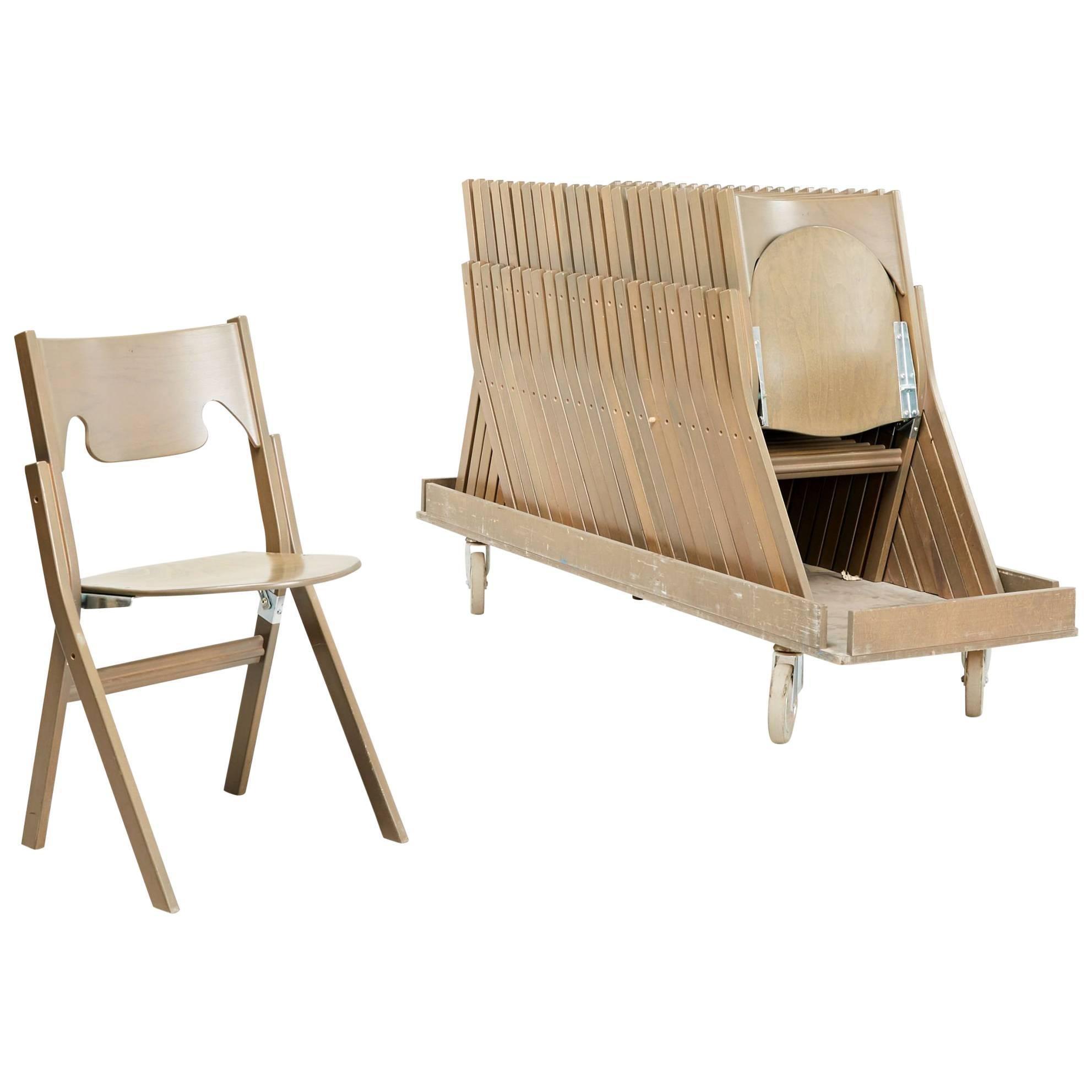 Set Of 24 Scandinavian Postmodern Folding Chairs By Swedish Ake