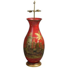 Very Large and Impressive Red Lacquer Chinoiserie Lamp