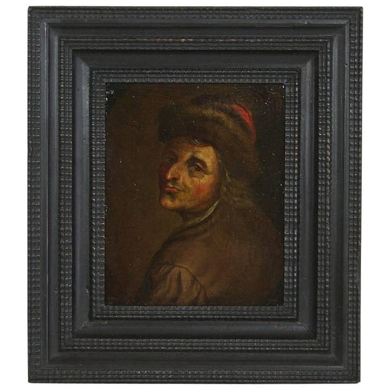 18th Century Dutch Oil Painting of a Man with Fur Hat