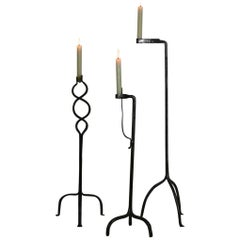 Collection of Three French 18th Century Hand-Forged Iron Torcheres/Candleholders