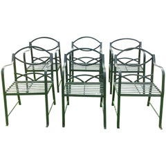 Set Of Six Hand Made Wrought Iron Garden Chairs in the Regency Style