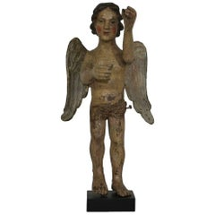 18th Century French Folk Art Baroque Carved Wooden Standing Angel