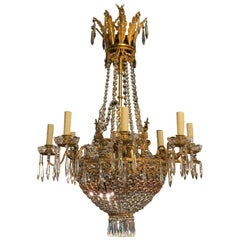 19th Century Second Empire Chandelier with Pink Crystals