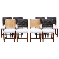 Carl-Gustav Hiort af Ornäs 1950s Set of Six or Eight Cane/Leather Dining Chairs